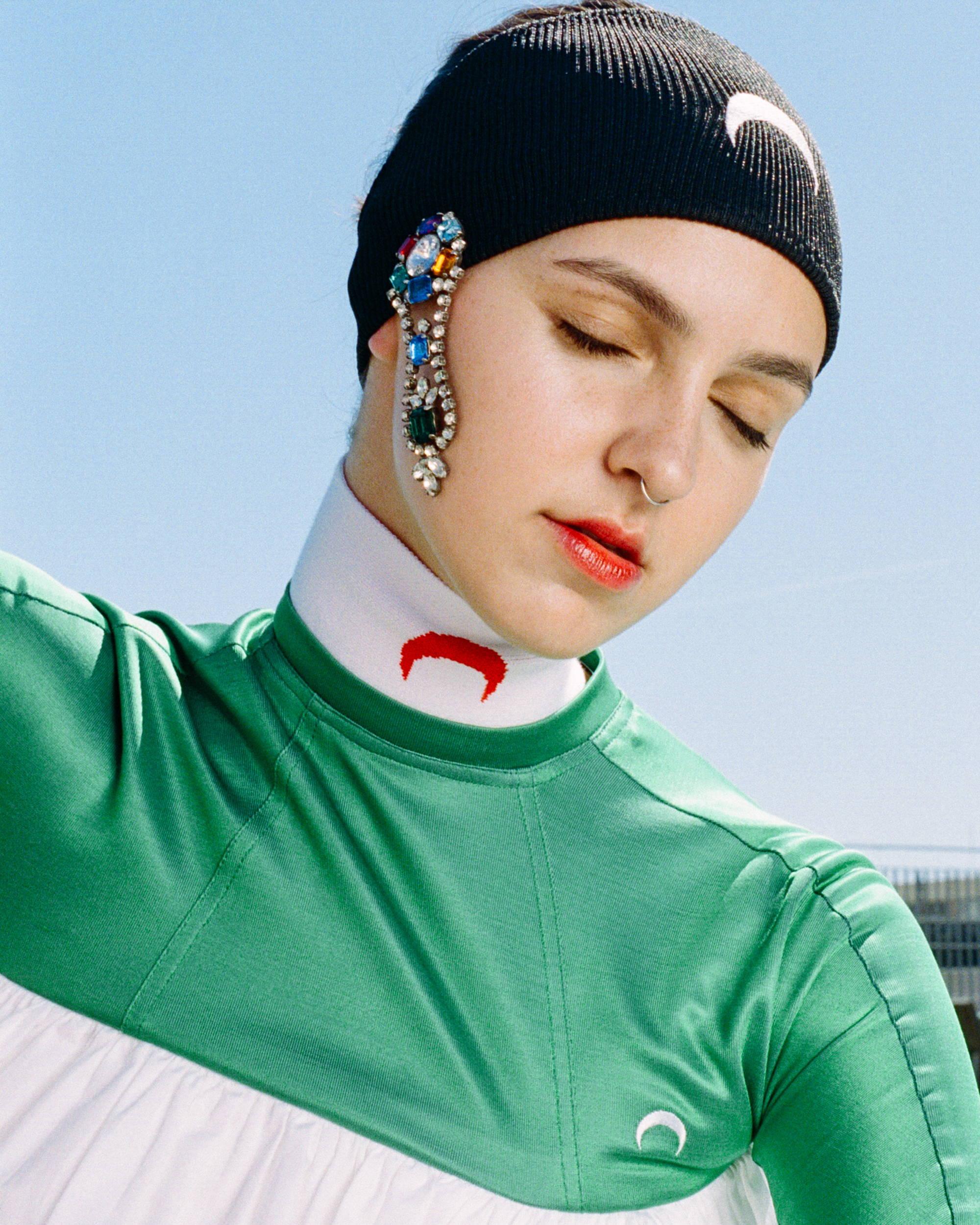 Marine Serre Jeweled Knit Headband SS18 - Hlorenzo
