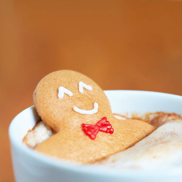 High Quality Organics Express Gingerbread man sitting in cup of hot cocoa