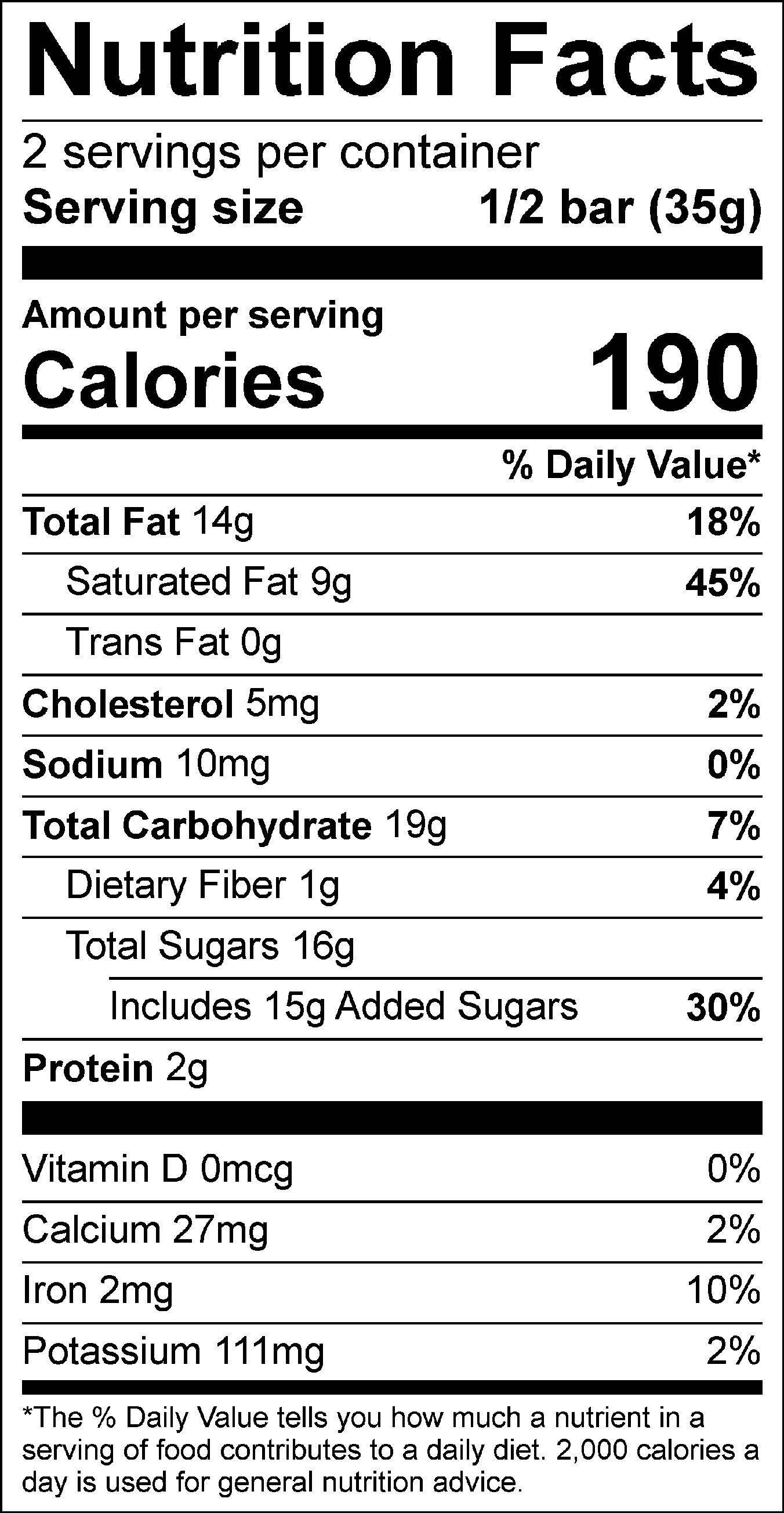 Mint Chip Truffle Bar Nutrition Facts