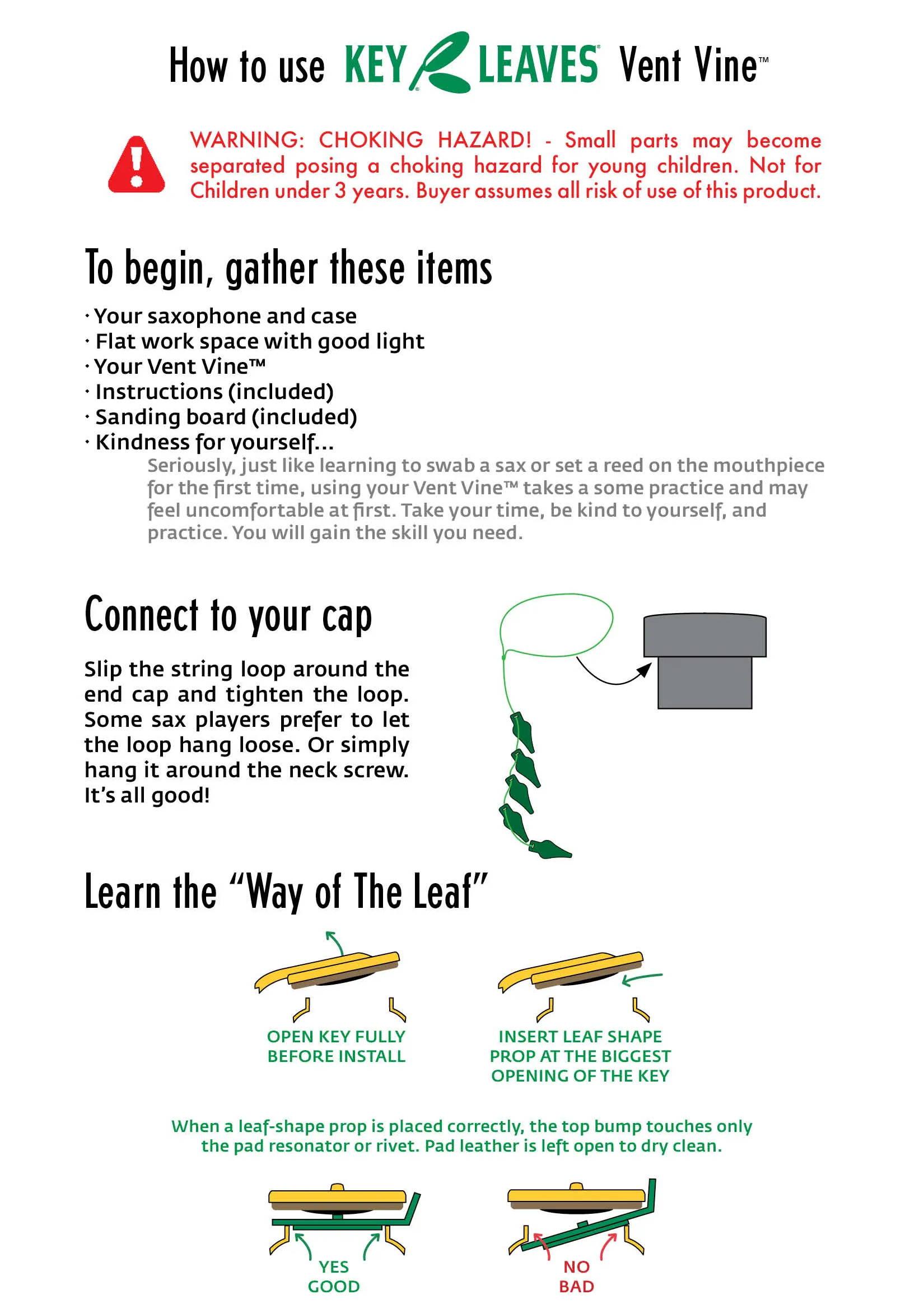 Saxophone Vent Vine instructions page 1 of 3