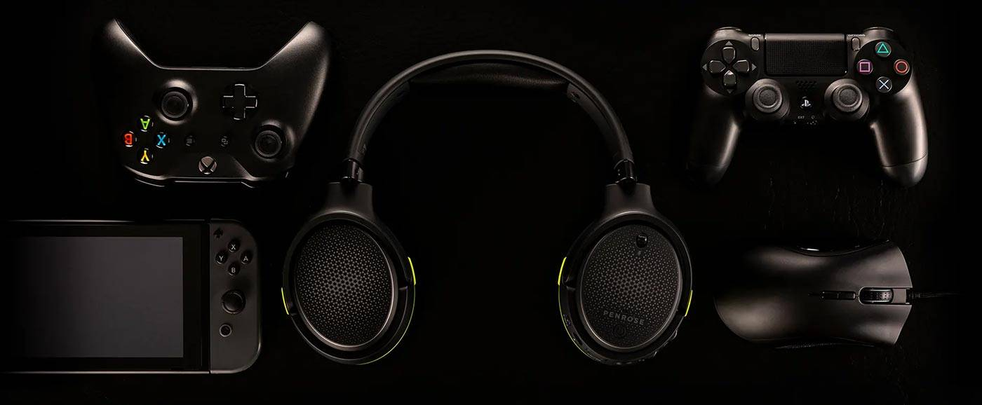 Audeze Penrose cover image with gaming controllers