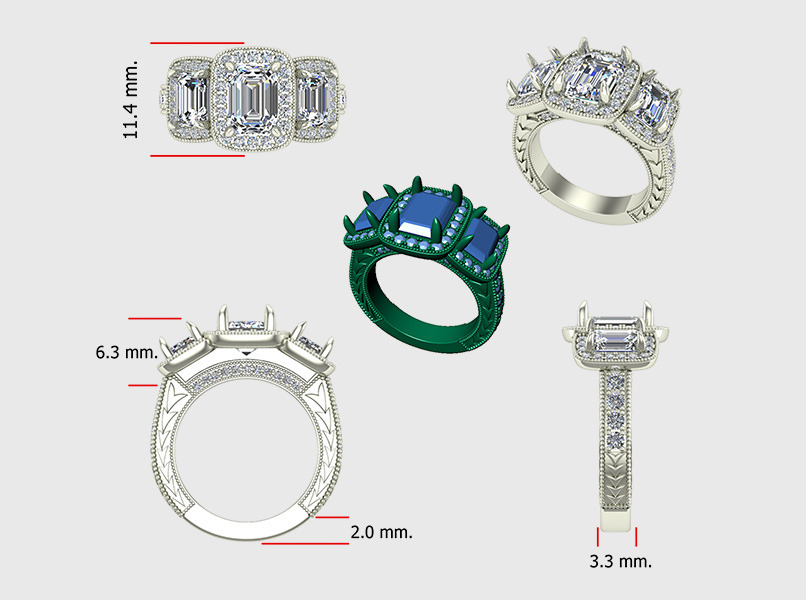 Custom Diamond Engagement Sketches