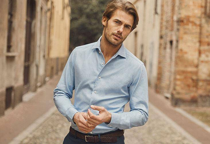 Luca Faloni mens brushed cotton shirt made in Italy