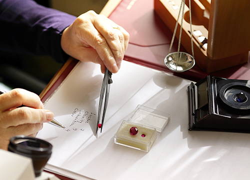 A Gemologist Appraising Jewelry