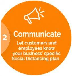 Communicate: Let customers and employees know your business' specific Social Distancing plan.
