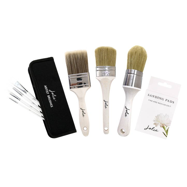 Jolie Brushes Tools Signature, Flat, Wax, Artist Brushes & Sanding Pads