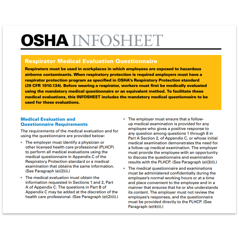 OSHA Quickseet on Respirator Medical Screening Requirements