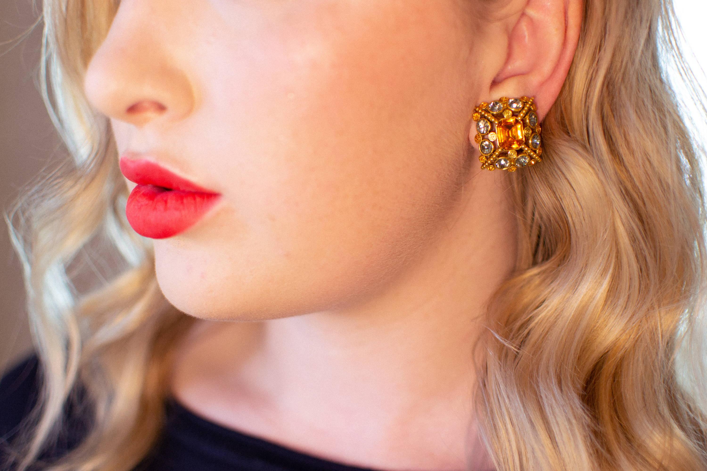 Vintage Joan Rivers Citrine Earrings