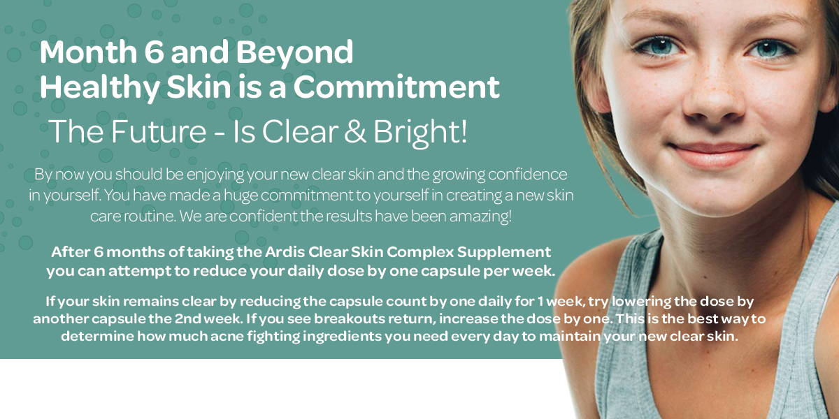 Keeping your skin clear requires commitment to maintaining the nutrition and routine you have created.