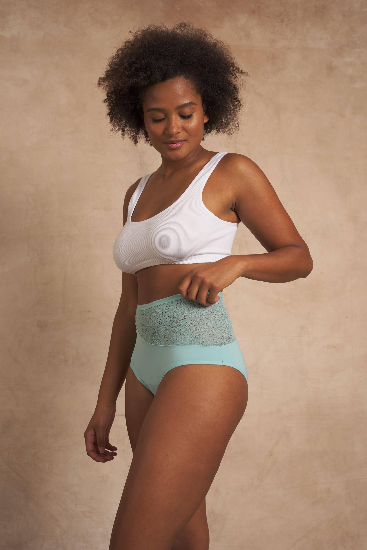 Model wearing Saalt period underwear, the High Waist style.