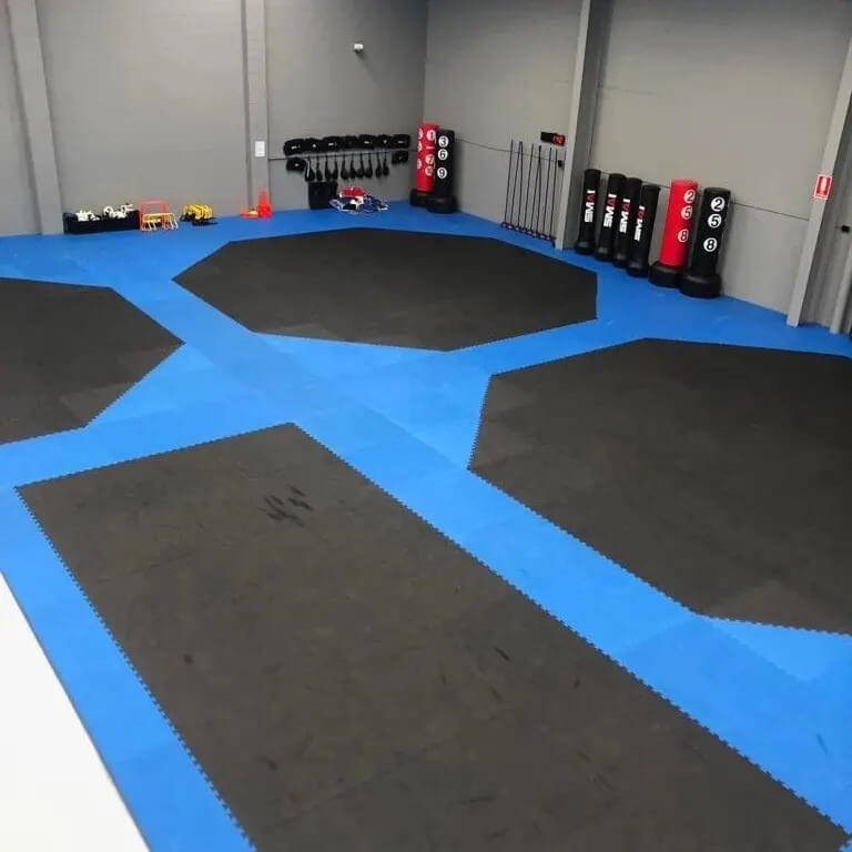 black and blue octagon jigsaw mats on gym floor