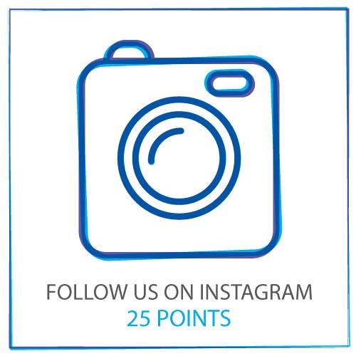 Folgen Sie uns auf Instagram, um 25-Punkte zu sammeln
