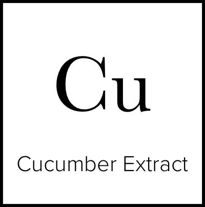 """A square that is meant to look like an element from the Periodic Table of Elements. It says """"Cu Cucumber Extract."""""""