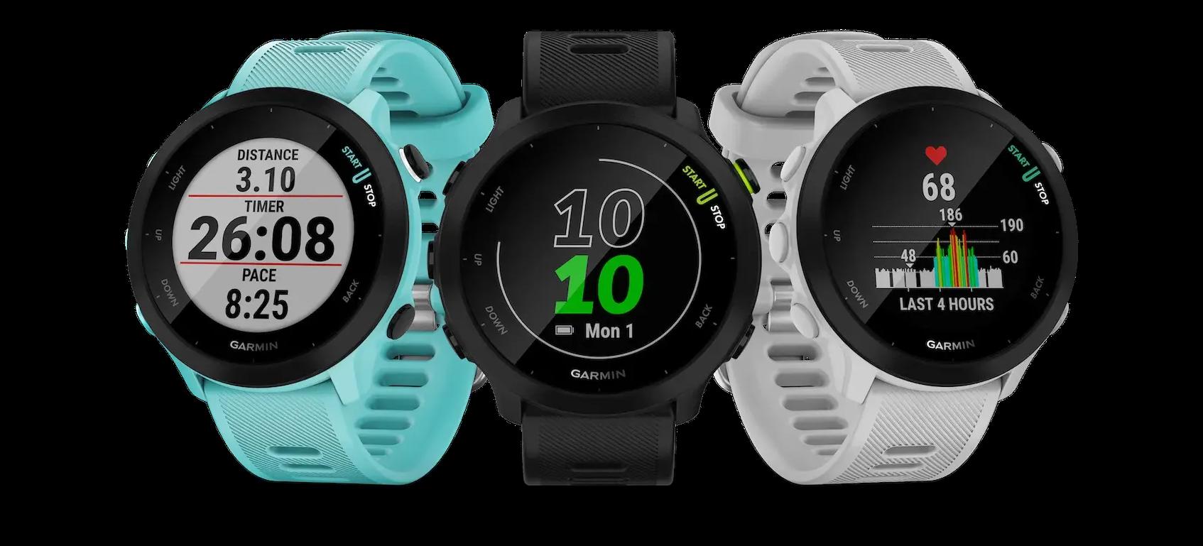 The Garmin Forerunner 55 GPS running watch lineup