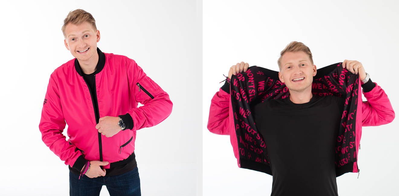 Custom T-Mobile bomber jacket for employee benefit campaign