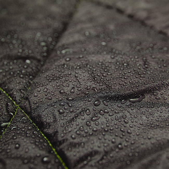 Water beading up on outdoor weather resistant rumpl blanket