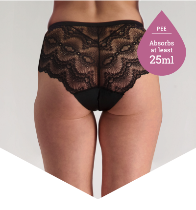 Pee Panties for Light Bladder Leakage - Full Brief Lace Black - Just'nCase by Confitex