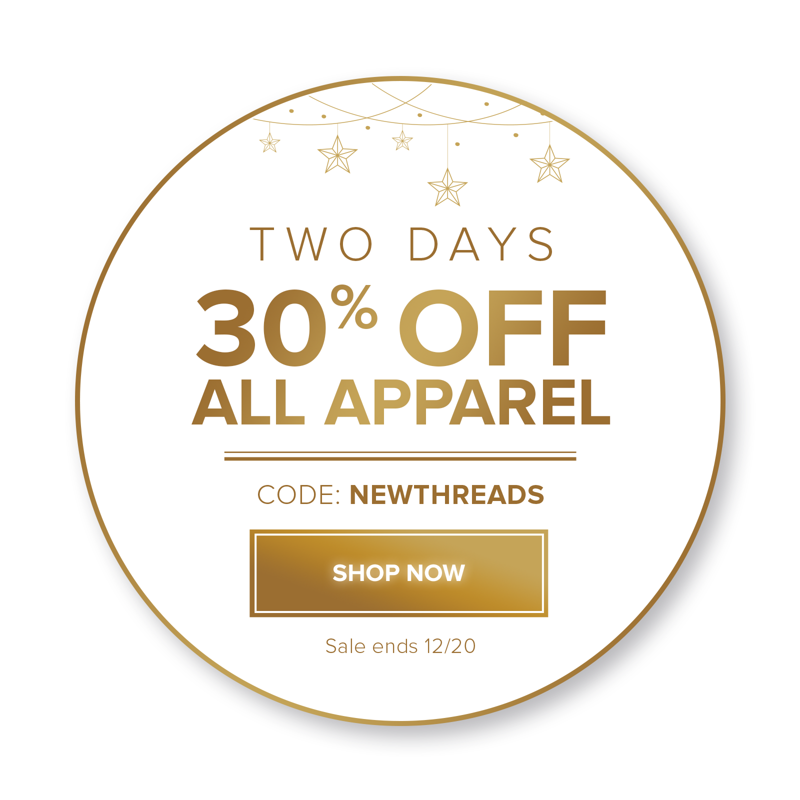 30% off apparel with promo code: NEWTHREADS