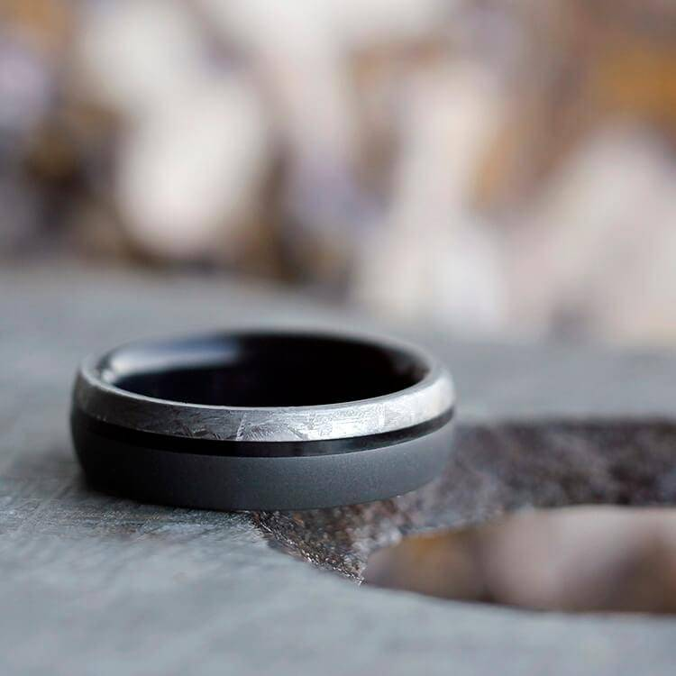 Meteorite Ring with Sandblasted Titanium