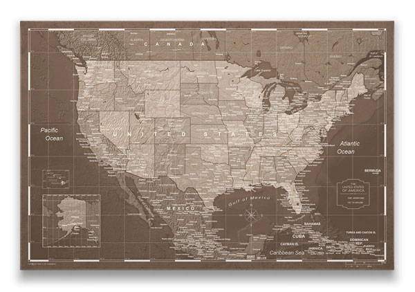 United States Map Pin Board Deep Espresso