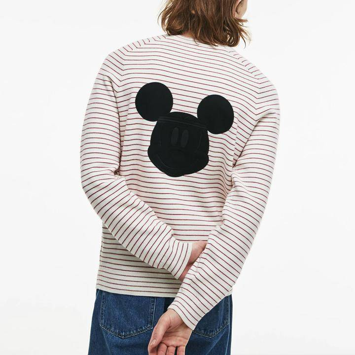 Lacoste Disney Mickey Crew Neck Sweater Men's White and Red