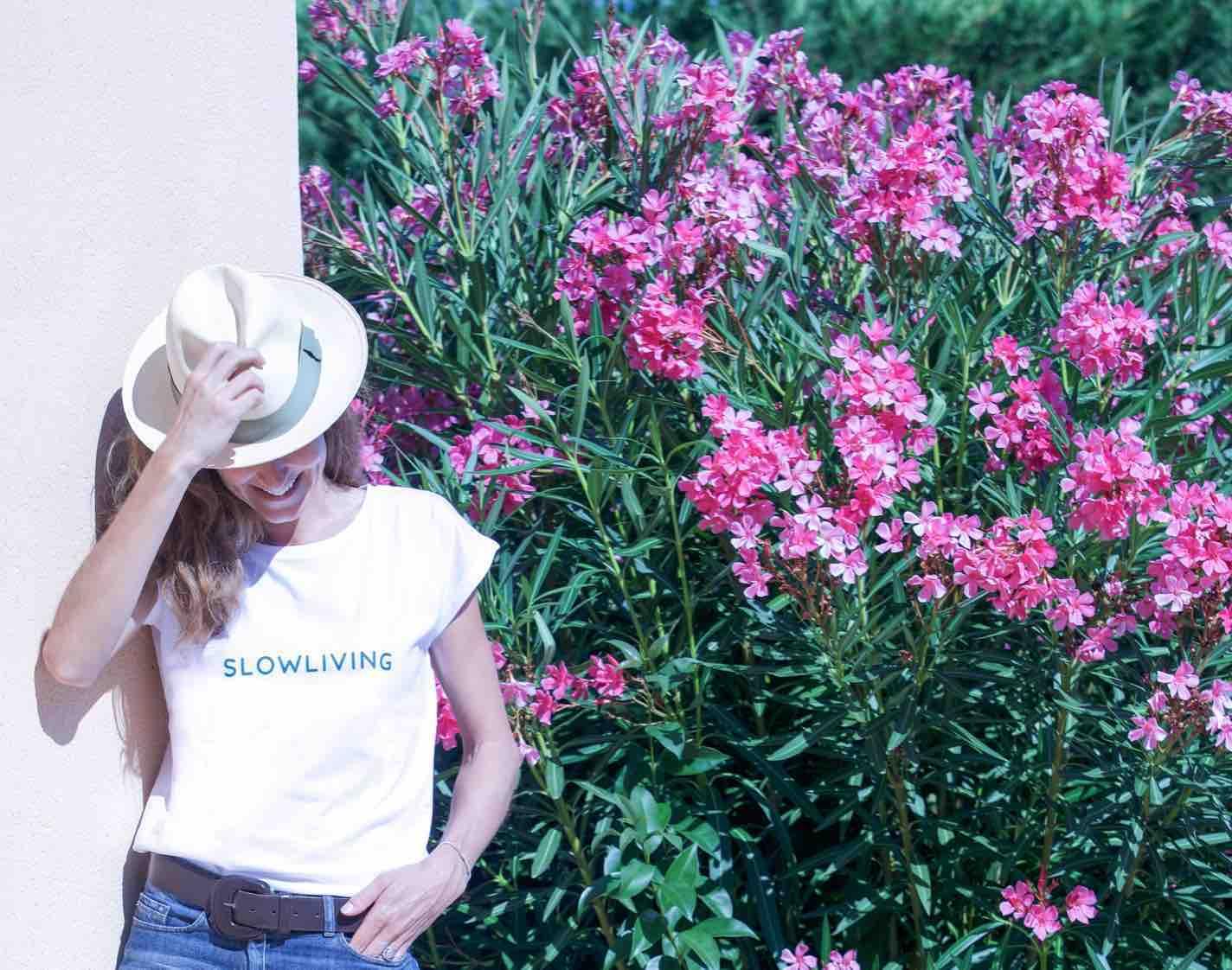 'Slow Living' Slogan White T-shirt