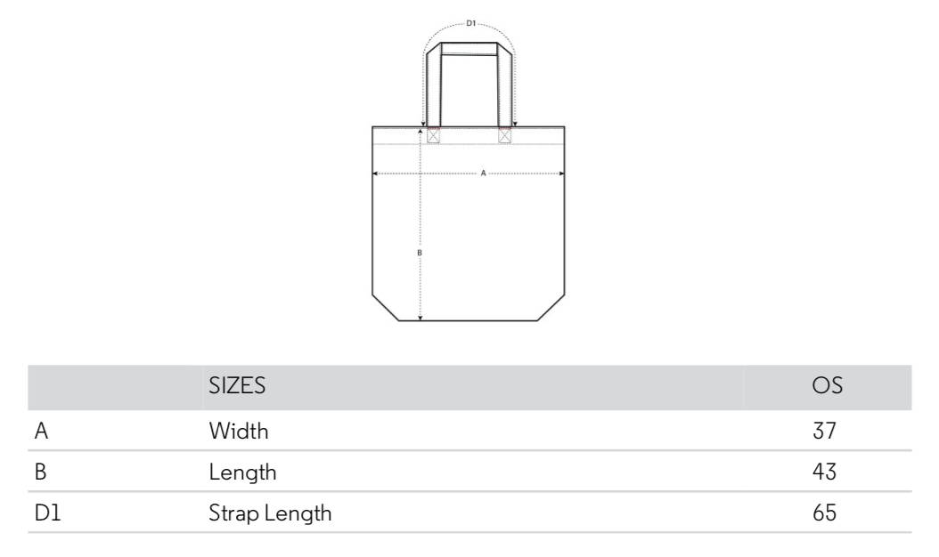 Size chart Cape Town Tote Bag
