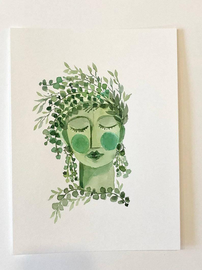 Green Lady watercolor from Ellen Crimi-trent