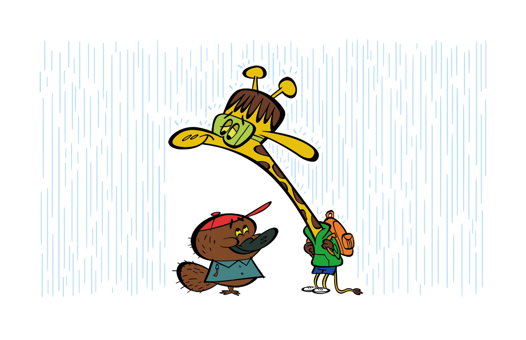 illustrated characters in the rain