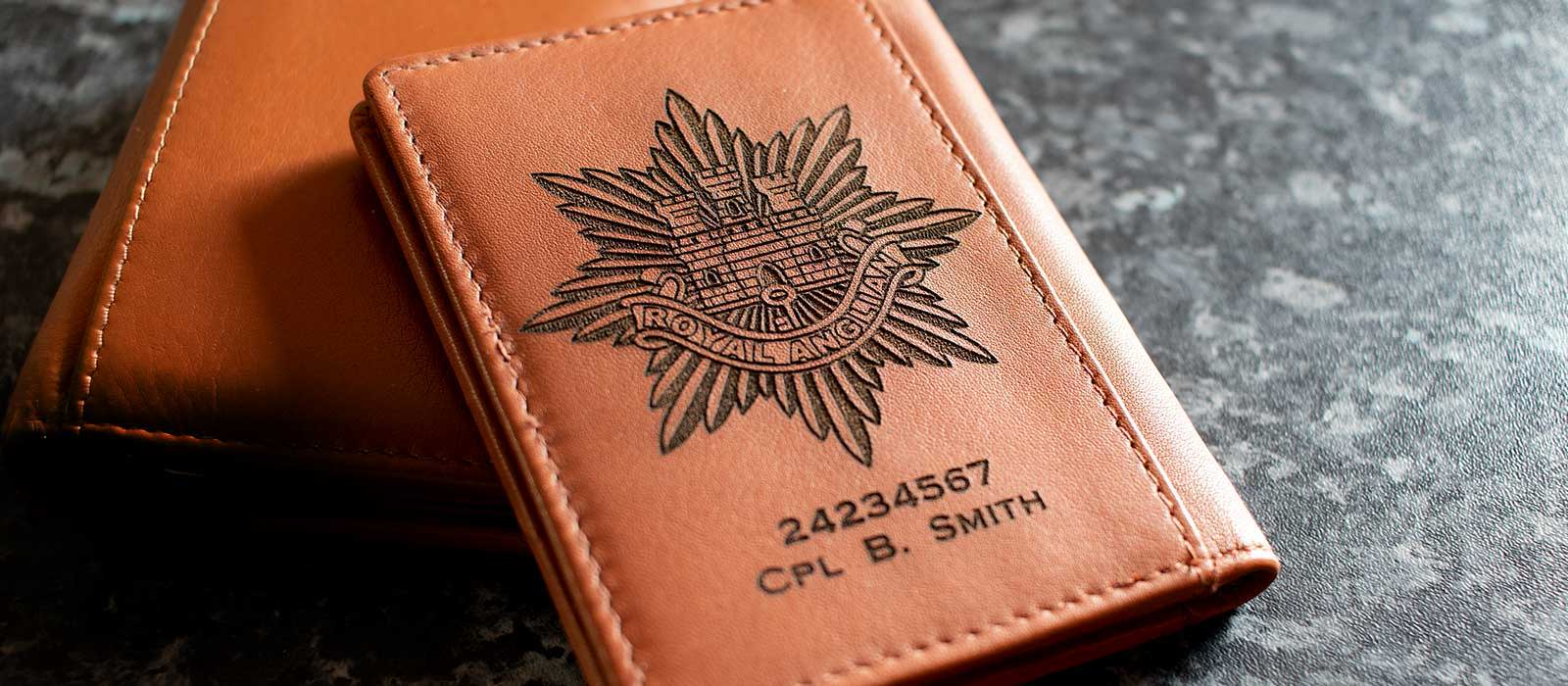 ROYAL TANK REGIMENT ARMY PERSONALISED GIFT WALLET ENGRAVED WITH ANY NAME /& NO.