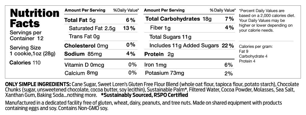 Gluten Free Fudgy Brownie Cookie Dough Nutrition Facts