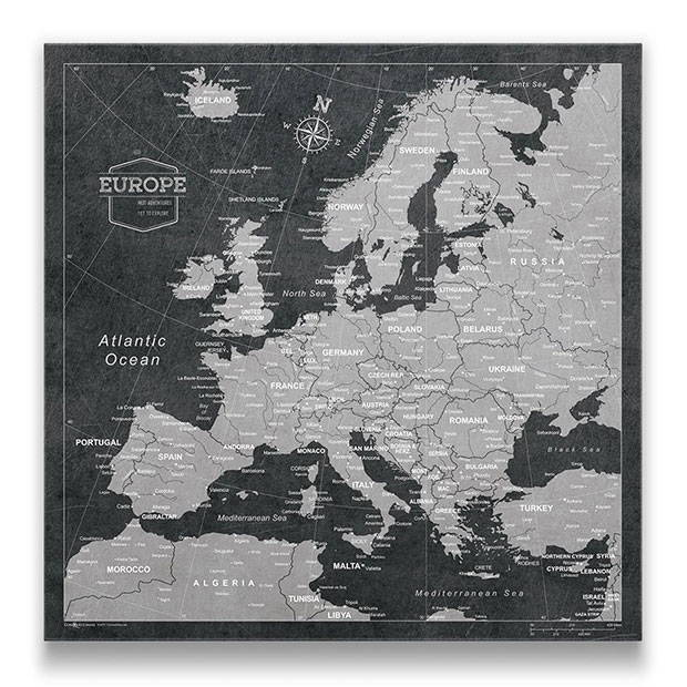 Europe Map Pin Board Modern Slate