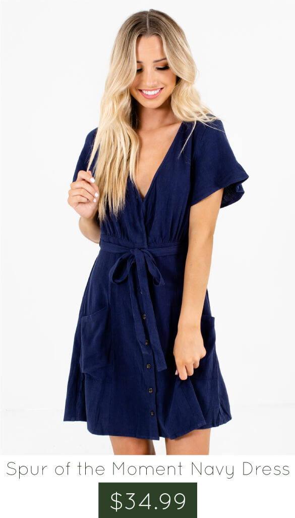 Navy Blue Button-Up Front Boutique Mini Dresses for Women