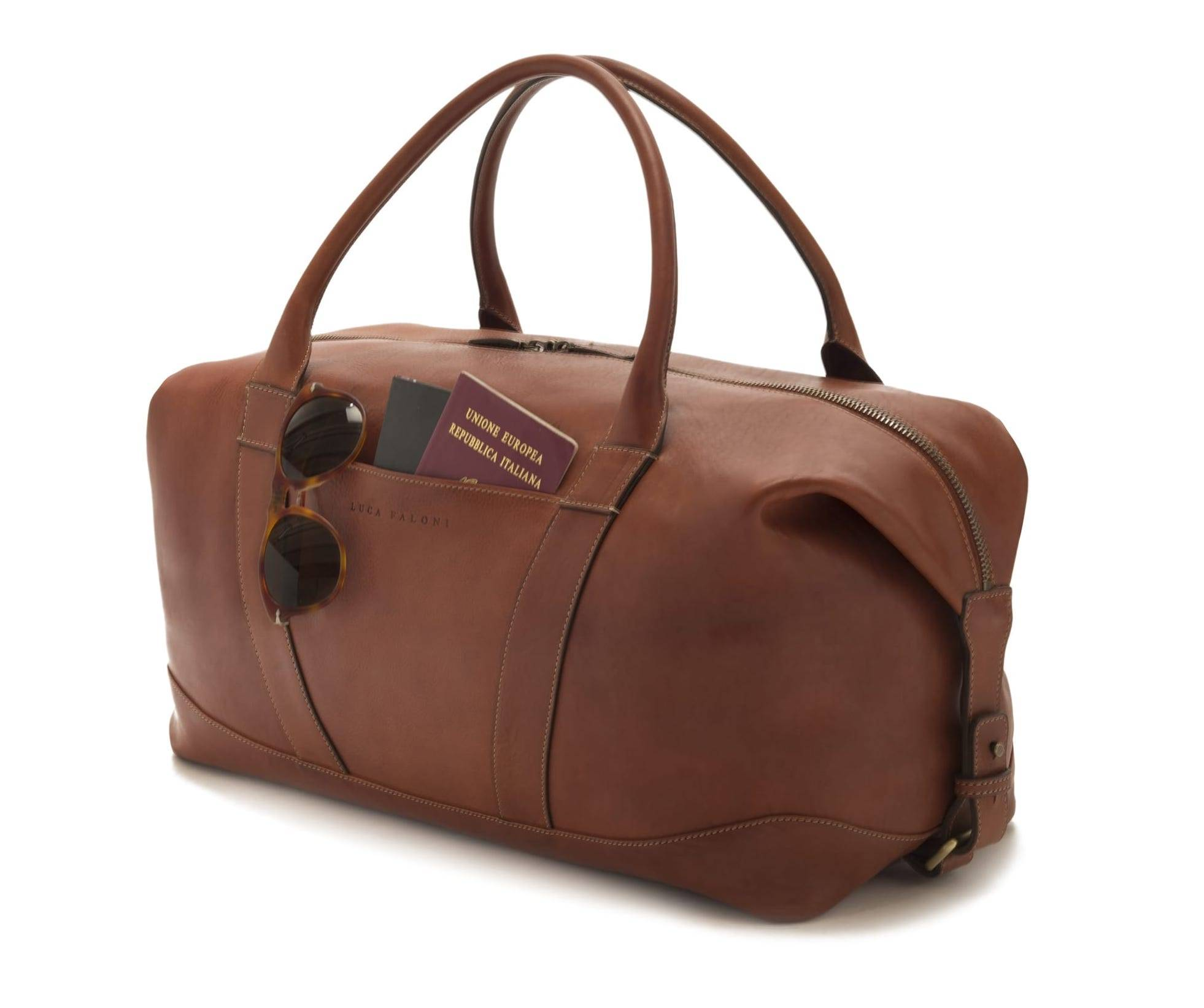 Luca Faloni Cognac leather travel bag made in Italy