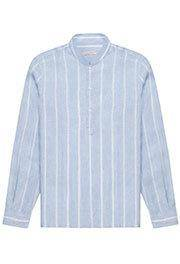 Luca Faloni Striped band collar linen shirt made in Italy