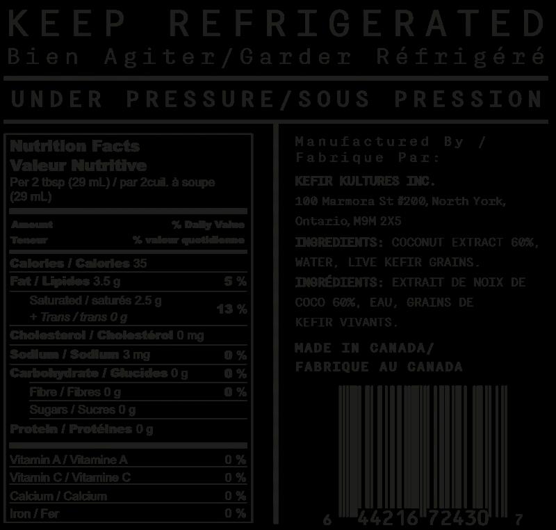 Coconut Kefir Yogurt Nutrition Facts Table