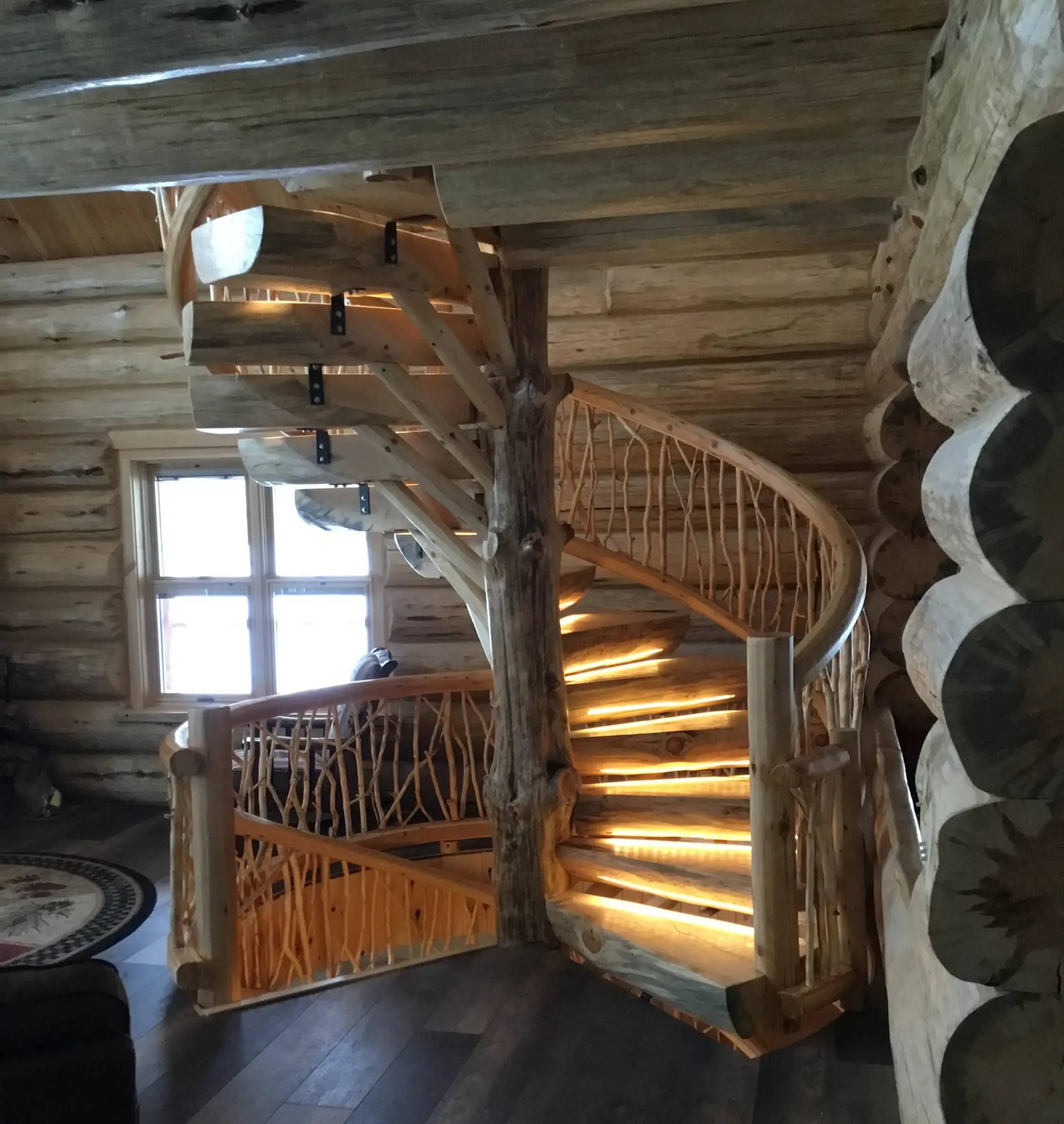 Spiral log stair case