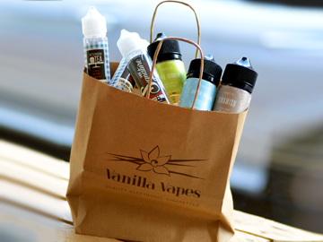 Vanilla Vapes bag of shortfill e-liquids