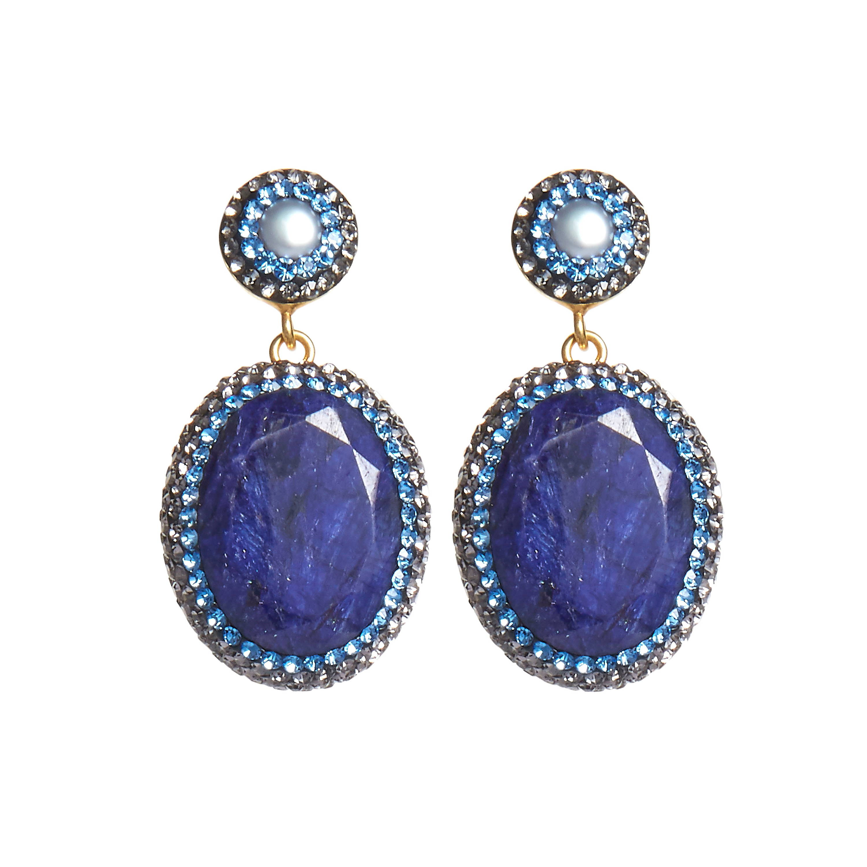 SORU JEWELLERY SAPPHIRE EARRINGS, SORU BLUE STONE EARRINGS