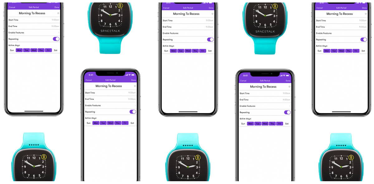 graphic showing number of Spacetalk watches and phone app screens depciting how the app configures hours for school mode