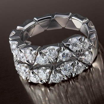 Silver ring with two rows of diamonds