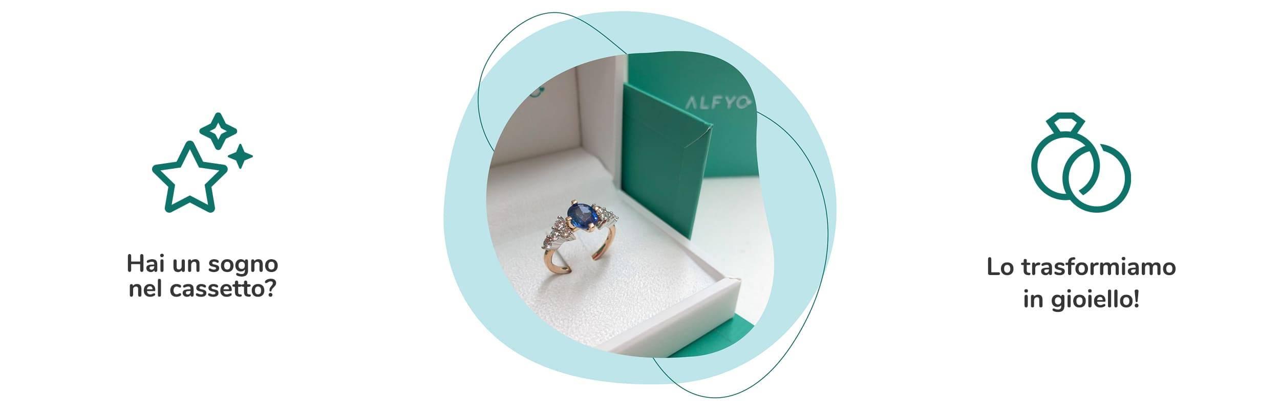 anello con zaffiro personalizzato gioielleria alfyo
