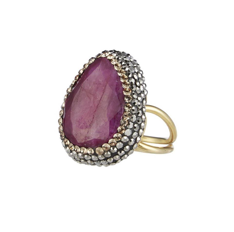 soru jewellery ruby red statement ring, ruby and crystal stone soru ring