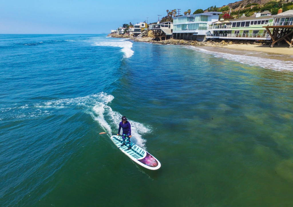 This is the very best yoga stand up paddle board. Moon Mist in Malibu surfing sup style