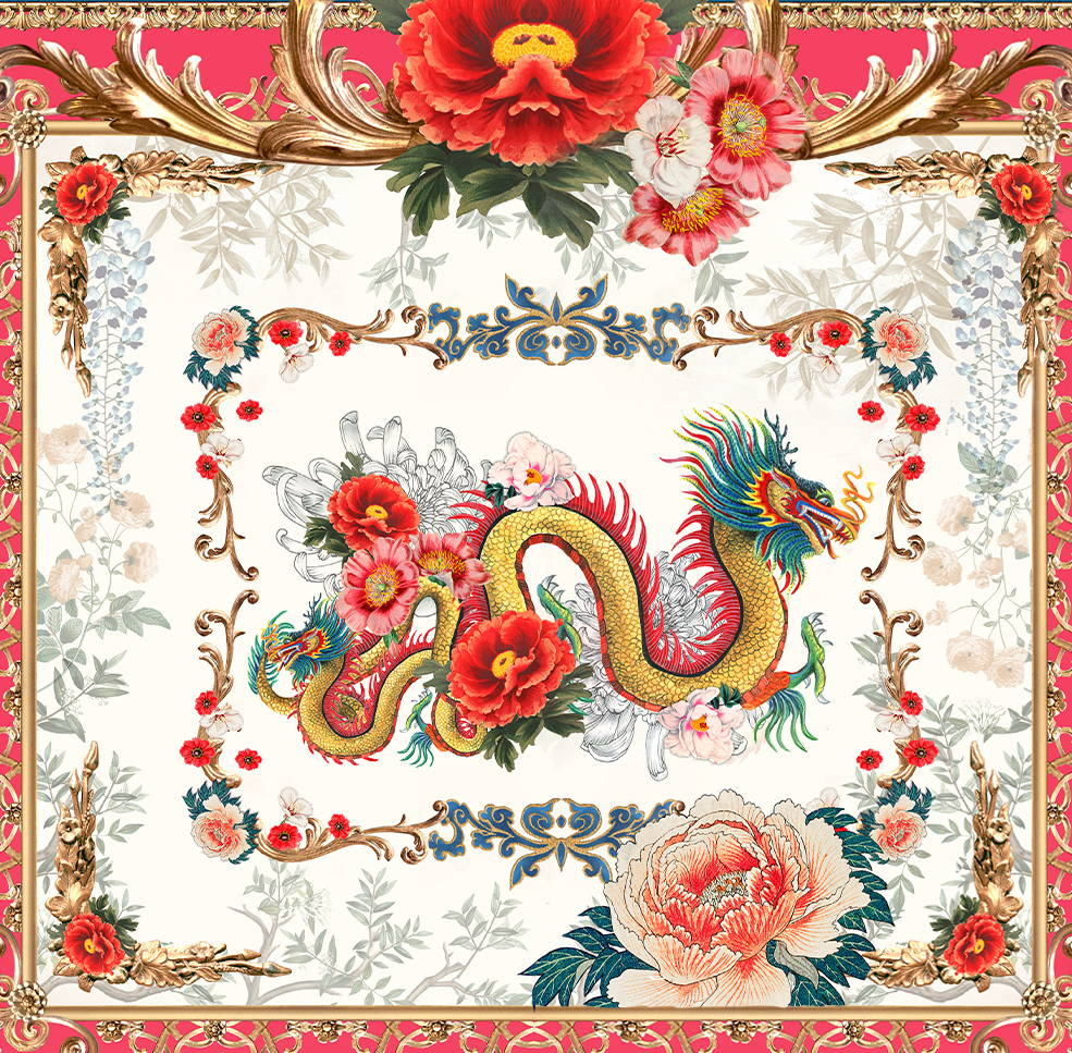 CAMILLA print of dragon, flowers and gold detailing