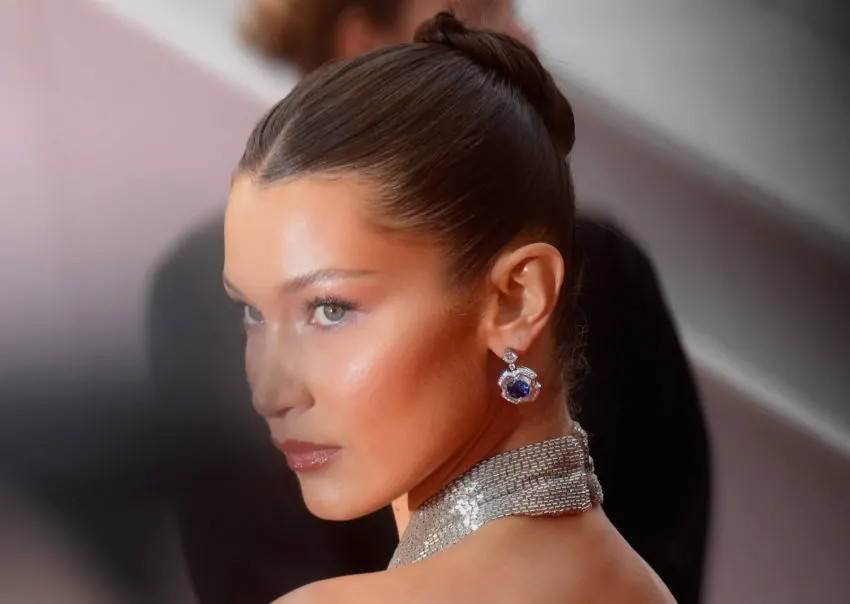 Bella Hadid with hair in a bun