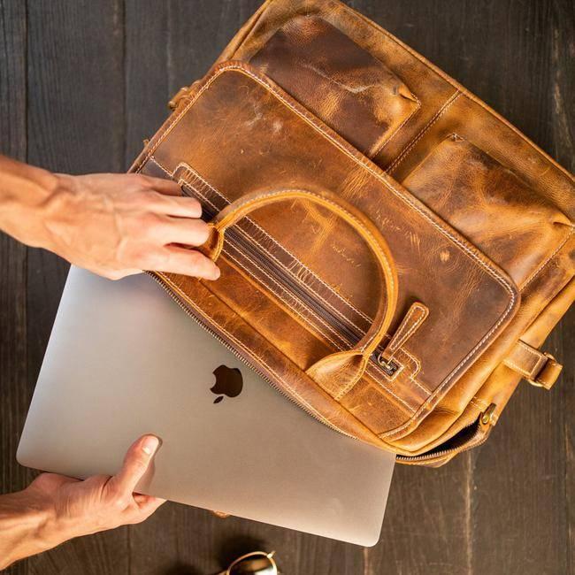 Men's Leather Messenger Laptop Bag - Buffalo Top Grain Leather Bag