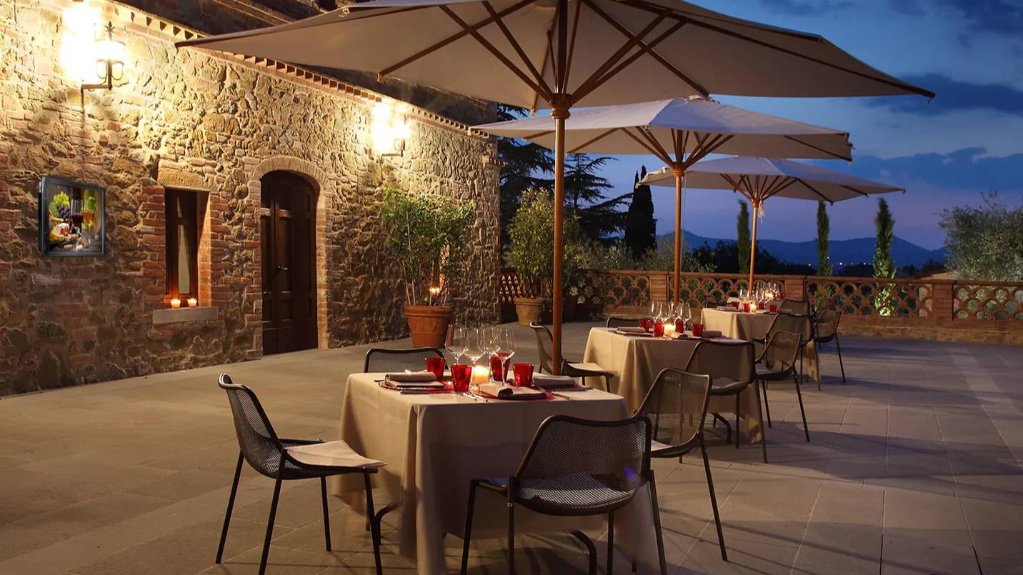 The Display Shield® Weatherproof Digital Display Enclosure Restaurant Patio Example