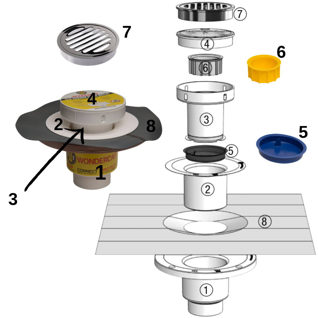 Round Chrome Brass Strainer Shower Floor Drain Kit
