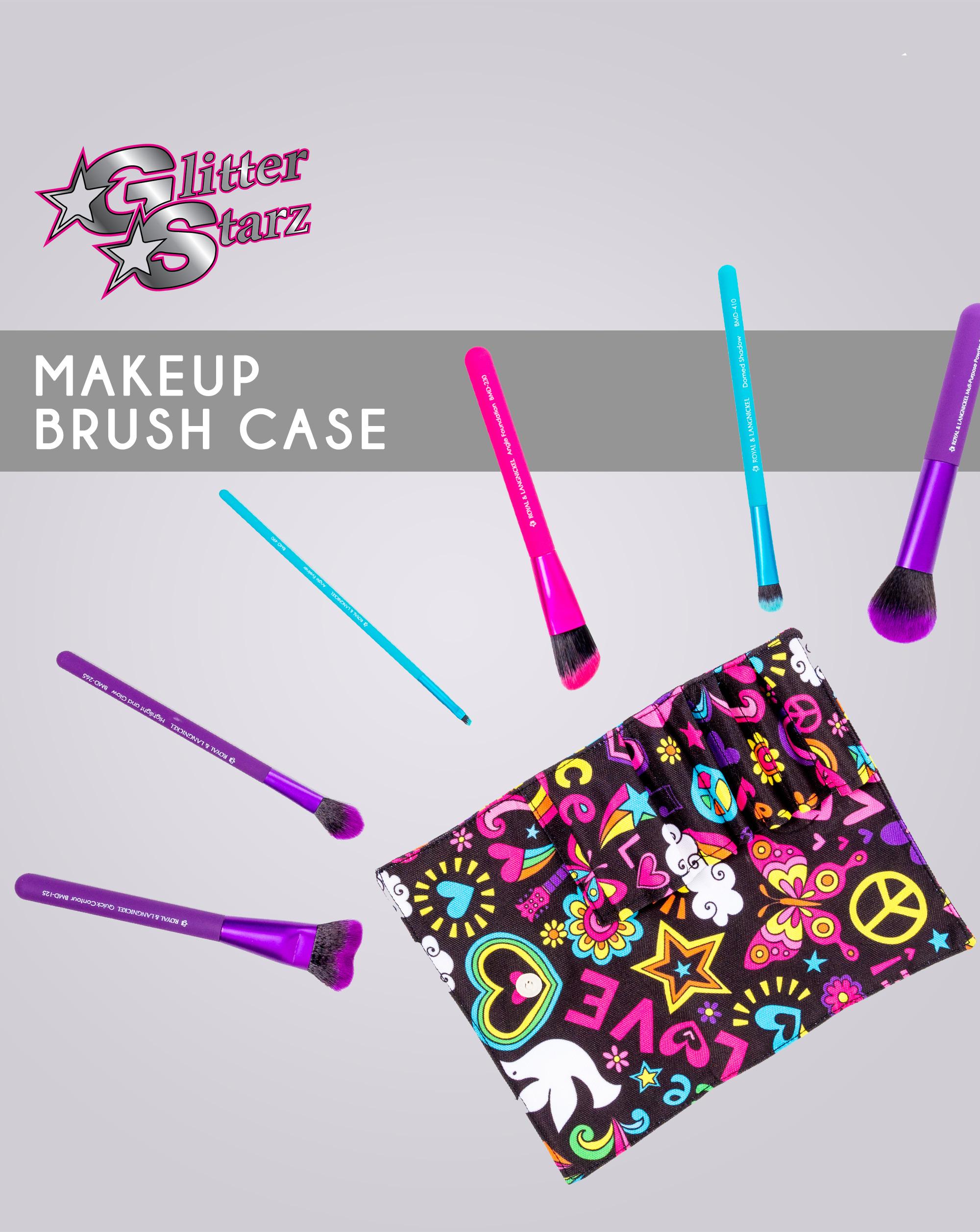 glitterstarz makeup brush case custom pattern snap close bag